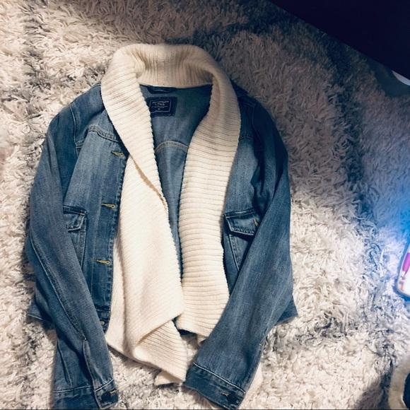 Unique blue Jean jacket with sweater detail